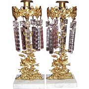 "RARE matching Pair of Marked ""Dietz Brothers"" Girandola Candle Sticks with ""Birds Pattern"" with Original Prisms & Brass Stamped Prism Rings circa 1845 to 1857 !!!"