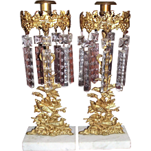 """RARE matching Pair of Marked """"Dietz Brothers"""" Girandola Candle Sticks with """"Birds Pattern"""" with Original Prisms & Brass Stamped Prism Rings circa 1845 to 1857 !!!"""