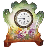 "Royal Bonn marked ""ARMOR"" named Miniature China Case Clock with Original Ansonia marked Movement & Enamel Dial circa 1880 to 1910 !!!"