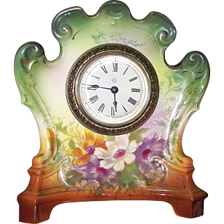 """Royal Bonn marked """"ARMOR"""" named Miniature China Case Clock with Original Ansonia marked Movement & Enamel Dial circa 1880 to 1910 !!!"""