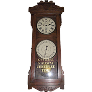 "Historic ""Baltimore & Ohio Railroad * Ellwood City,Pa. * Freight Station"" Double Dial 30 Day Calendar Clock in a New Haven ""Rutland"" Model Oak Case Circa 1915 !!!"