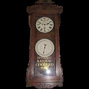 "Historic ""Baltimore & Ohio Railroad * Ellwood City,Pa. * Freight Station"" Double Dial 30 Day Calendar Clock in a New Haven ""Rutland"" Model Oak Case Circa 1915 !!!"