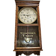 "RARE ""Western Union Time * Denver"" Regulator with a Waterbury Clock Co. Dial marked ""Railway Time * 30 Day"" in a Solid Oak Case Circa 1925 !!!"