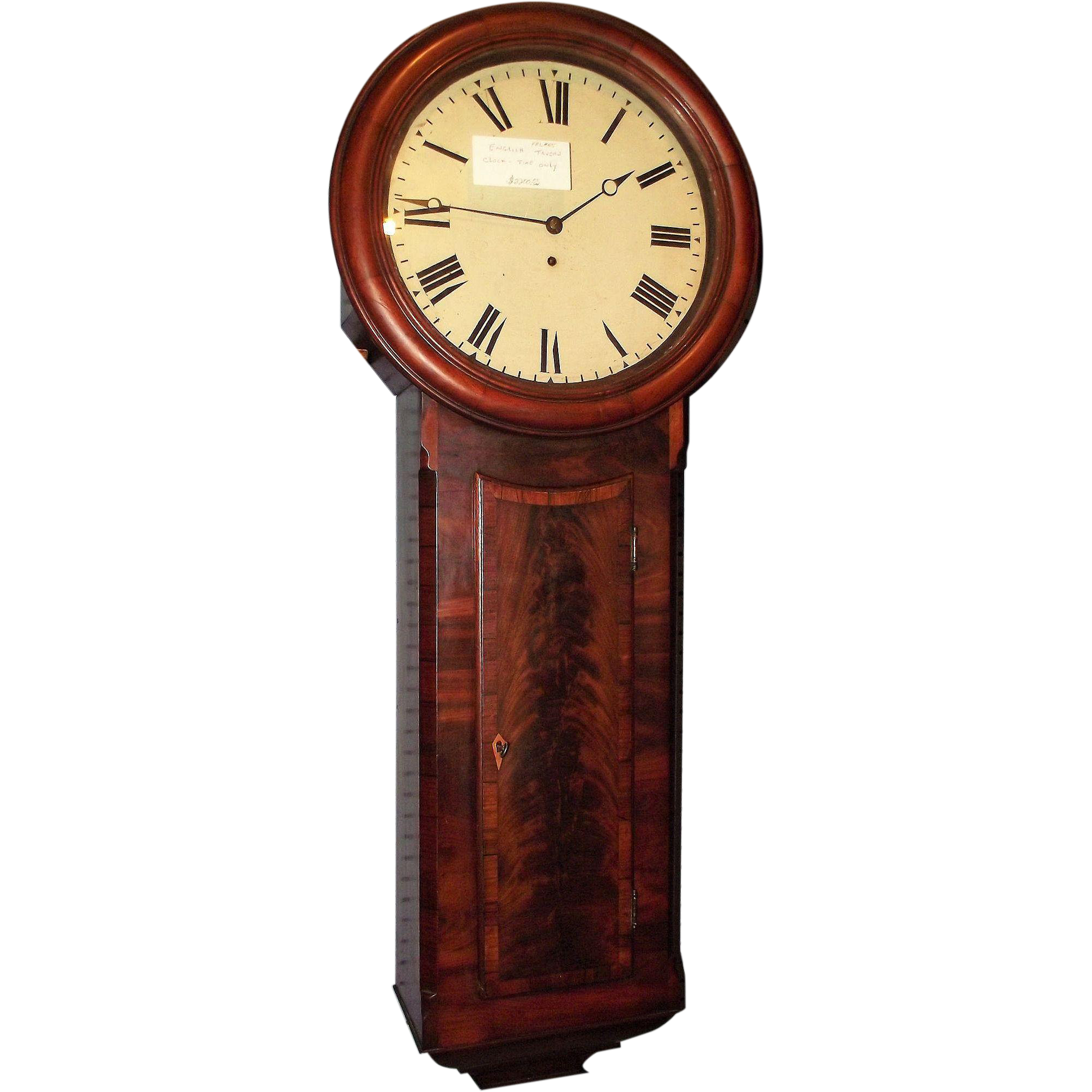 """English 8 Day Public or """"Tavern Clock"""" in Superb Mahogany Case with Jeweler's Paper Label inside Door !!!"""