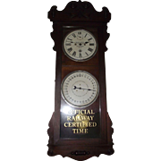 "Historic ""Baltimore & Ohio Railroad * Pittsburgh * Ticket Office"" Double Dial 30 Day Calendar Clock in a New Haven ""Rutland"" Model Mahogany Case Circa 1914 !!!"