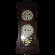 "Historic ""Baltimore & Ohio Railroad * Pittsburgh * Ticket Office"" Double Dial 30 Day Calendar Clock in a New Haven ""Rutland"" Model Mahogany Case Circa 1914 !!!"