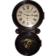 """Gustave Luchtenberg Jeweler"" Advertising Clock from Columbus,Ohio in a Rosewood ""Ionic"" Model Case with a Deluxe Brass Pendulum Bob & Gold paint decorated Tablet Dated 1881 !!!"