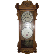"Historic ""Santa Fe Railroad * William's Depot""  promoting ""The Chief"" Line on a Double Dial 30 Day ""Rutland"" Model Calendar Clock, made by The New Haven Co. Circa 1914 !!!"