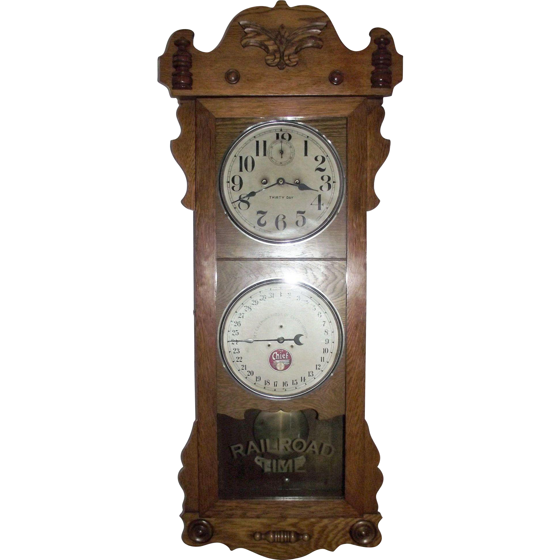"""Historic """"Santa Fe Railroad * William's Depot""""  promoting """"The Chief"""" Line on a Double Dial 30 Day """"Rutland"""" Model Calendar Clock, made by The New Haven Co. Circa 1914 !!!"""