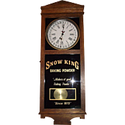 "RARE  ""Snow King Baking Powder"" Advertising Store Regulator Clock with Calendar Day of Month !!!"