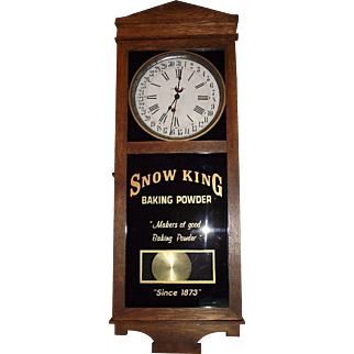 "RARE  ""Snow King Baking Powder"" Advertising Store Regulator Clock with Calendar Day of Month !!!"