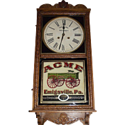"Advertising ""ACME Wagons"" Standard Store Regulator Clock with 8 Day Time & Strike Movement made Circa 1912 !!!"