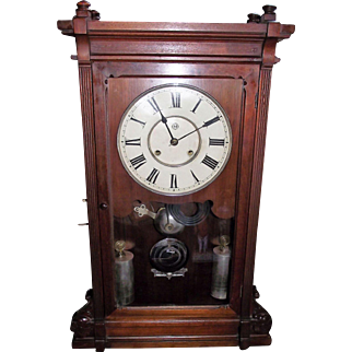 """RARE Seth Thomas """"Lincoln"""" Model Solid Walnut Shelf Clock with Deluxe Nickel Plated Weights and Damascened Bob !!! Eight Day Time & Strike Clock Circa 1880."""