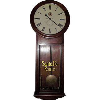 """Huge 1869 Model  """"Santa Fe Route"""" Railroad Clock in an """"Atkins *30 Day* Extra Regulator"""" with 18 inch Dial & Early Rosewood Case !!!"""