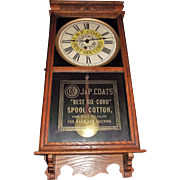"General Store Advertising ""J. & P. Coats Spool Cotton"" Clock Circa 1920's !"