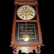 "General Store Advertising ""J. & P. Coats Spool Cotton"" Clock Circa 1920's !"