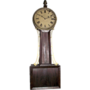 "Pre-Civil War Period Banjo Clock Signed ""Tift"" with 8 Day Brass Movement & Original Mahogany Wood Tablet case, pencil dated 1844 on back of Dial  !!!"