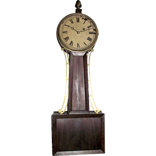 """Pre-Civil War Period Banjo Clock Signed """"Tift"""" with 8 Day Brass Movement & Original Mahogany Wood Tablet case, pencil dated 1844 on back of Dial  !!!"""