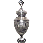 "24 inch ""Apothecary Show Jar"" with Cut Fluted Ribs & Fern Design on Jar with a Massive Jewel Topped Finial on the Lid, Circa 1900  !!!"
