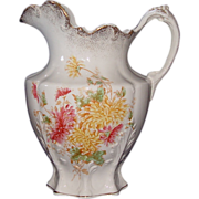 "Water Pitcher Decorated with ""Chrysanthemums"" !!!  Edwin M. Knowles China Co. Ca. 1908."