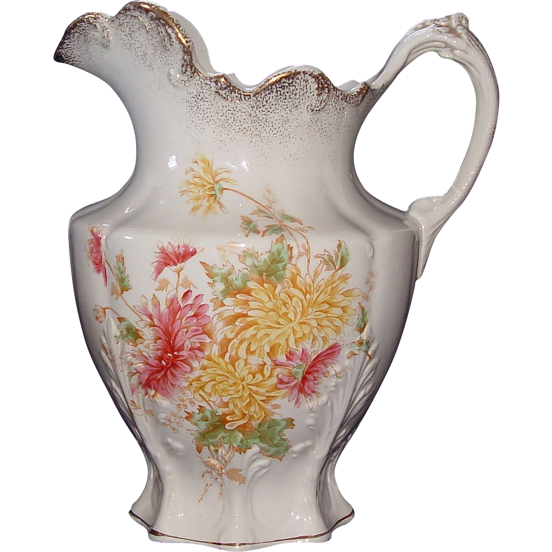 """Water Pitcher Decorated with """"Chrysanthemums"""" !!!  Edwin M. Knowles China Co. Ca. 1908."""