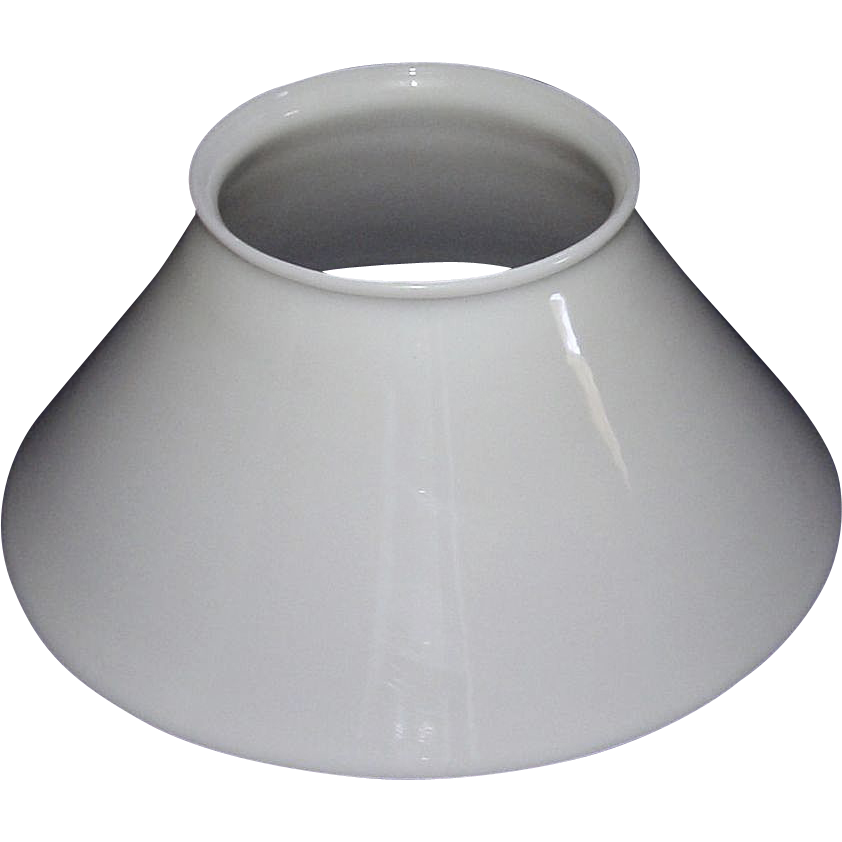 Blown White Glass Slant Shade with Rare 5 inch Top Fitter Circa 1890.