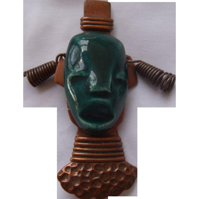 Figural Ceramic & Copper Blackamoor Brooch