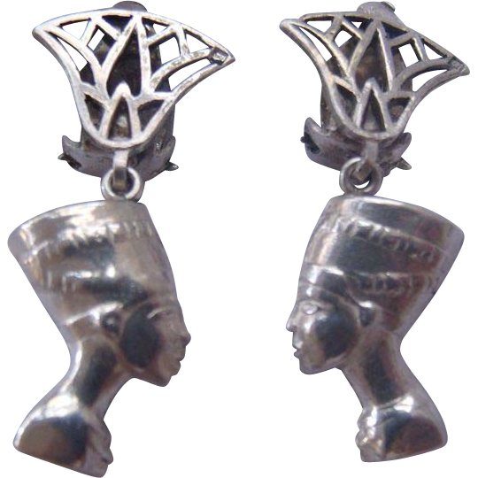 Art Deco Middle Eastern Silver Nefertiti Earrings