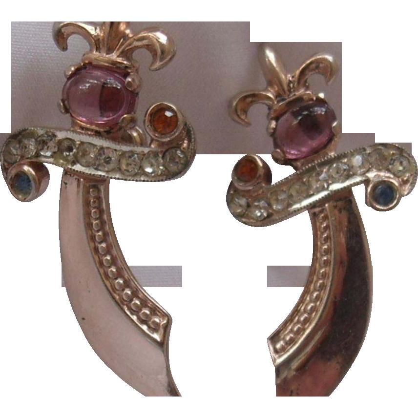 Urie Mandle Sterling Vermeil Sword Earrings