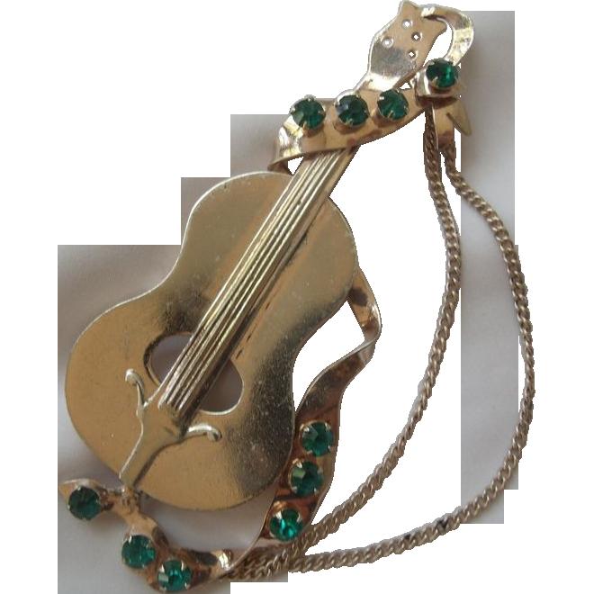XL Sterling Vermeil Cello Brooch