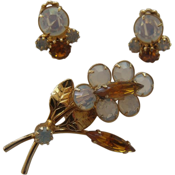 Opalescent Brooch & Earring Set