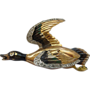 1940's Enameled Rhinestone Duck Brooch
