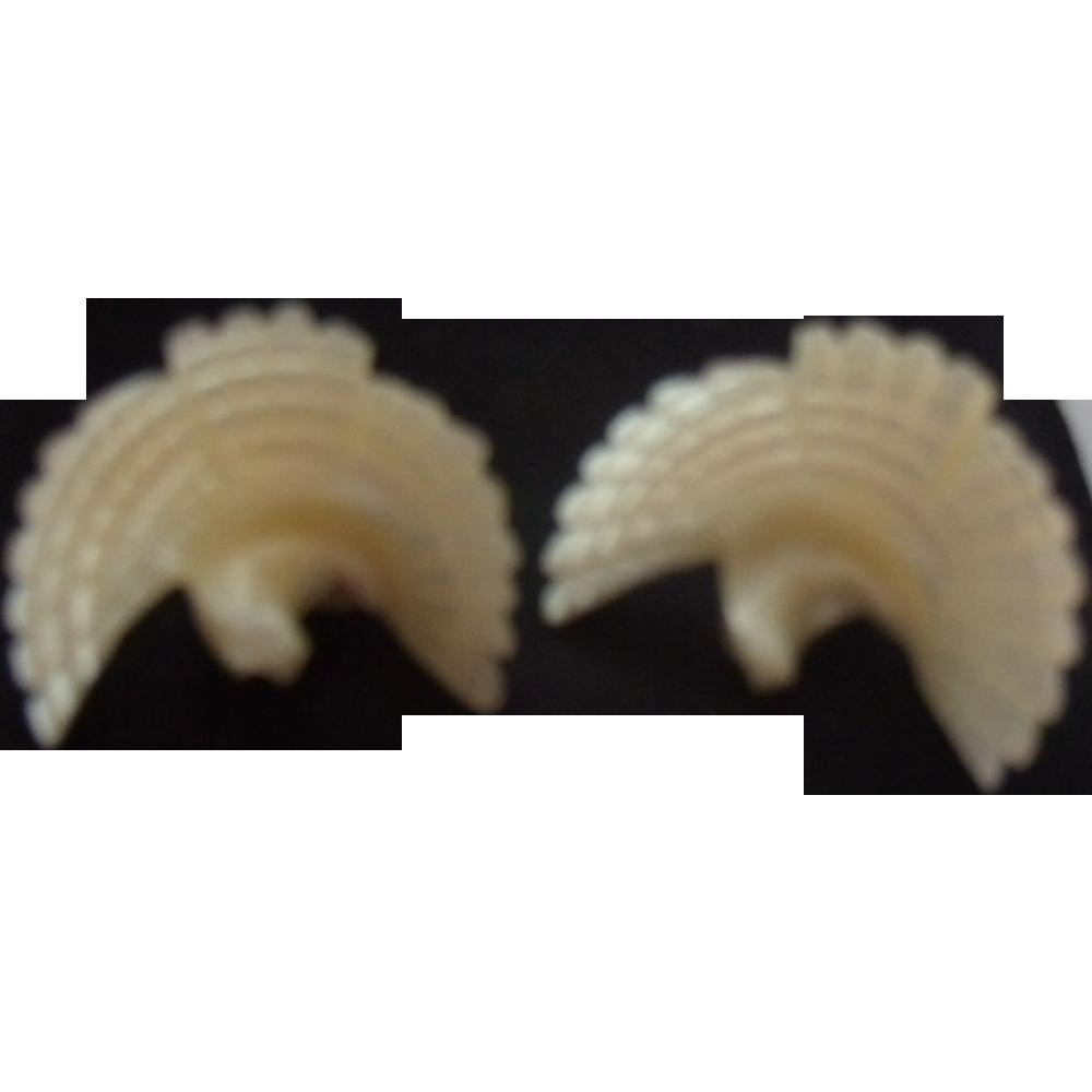 Carved MOP Bird Earrings