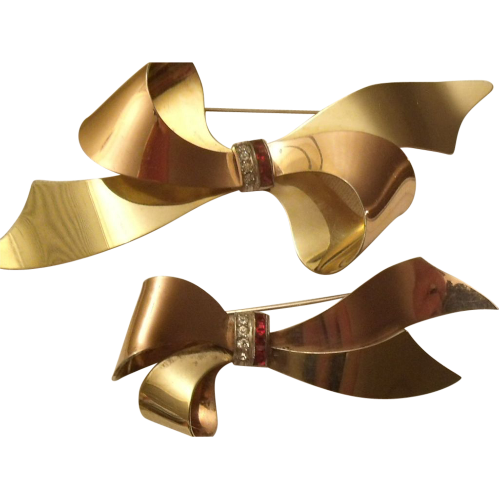 Taylord Sterling & Gold Filled Bow Brooch Pair