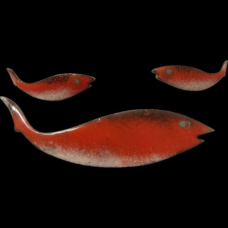 Mid Century Enameled Copper Fish Brooch & Earrings