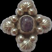 XL 1930's Mexican Silver & Amethyst Brooch