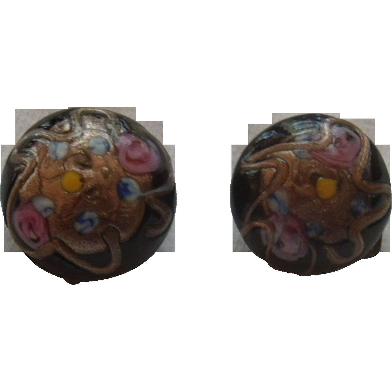 Black Enameled Wedding Cake Earrings