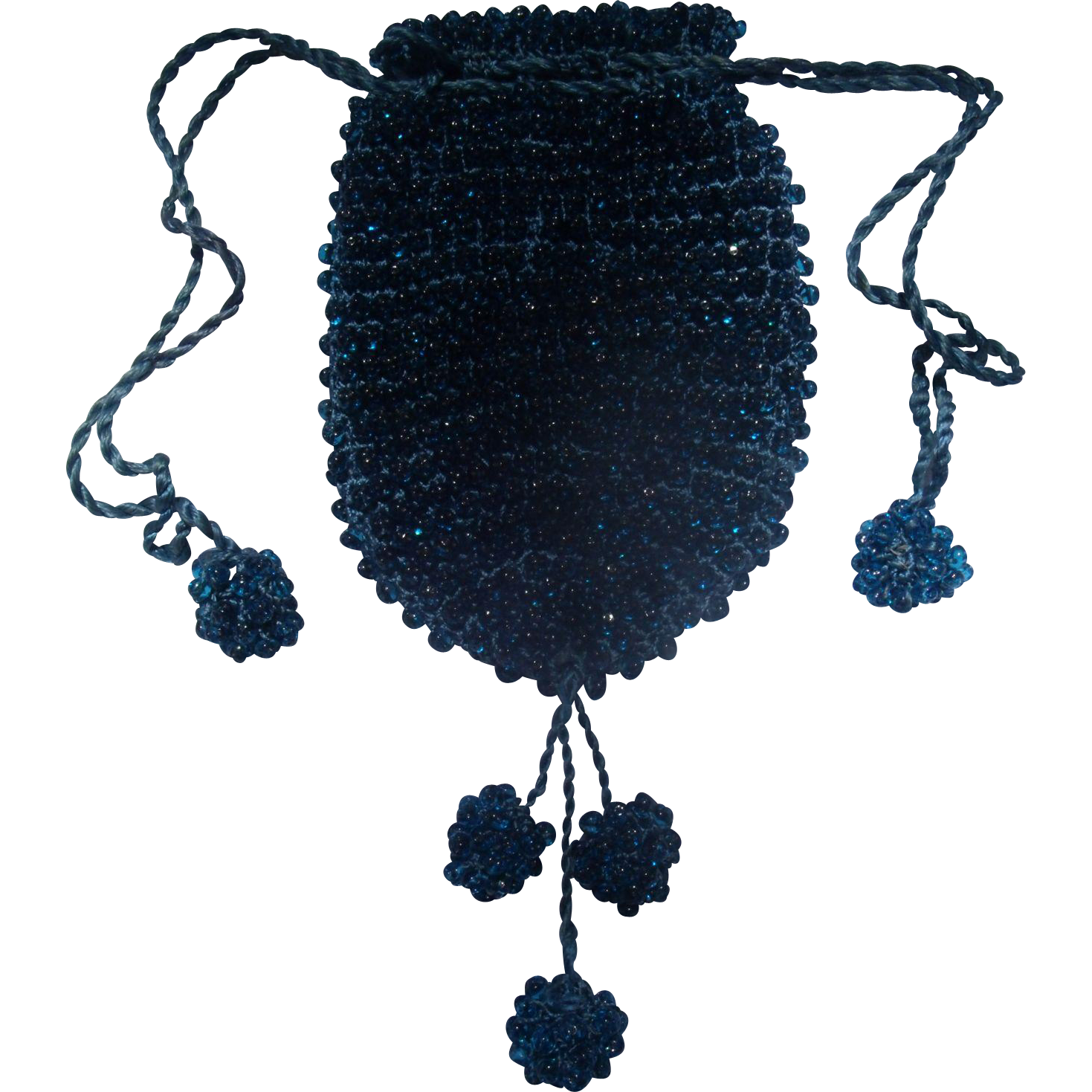 Aqua Blue Glass Beaded Draw String Purse