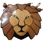 Inlaid Wood & Mother of Pearl Lion Necklace