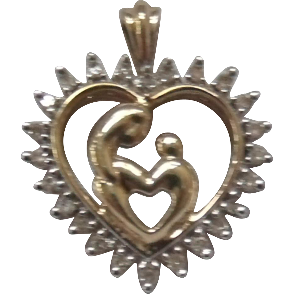 10K & .15 CT Diamond Mother & Child Heart Pendant