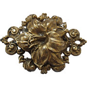 Large Stamped Brass Flower Brooch
