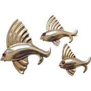 3 Sterling Vermeil Fish Pins