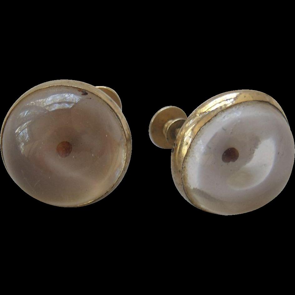 Coro Mustard Seed Lucite Earrings