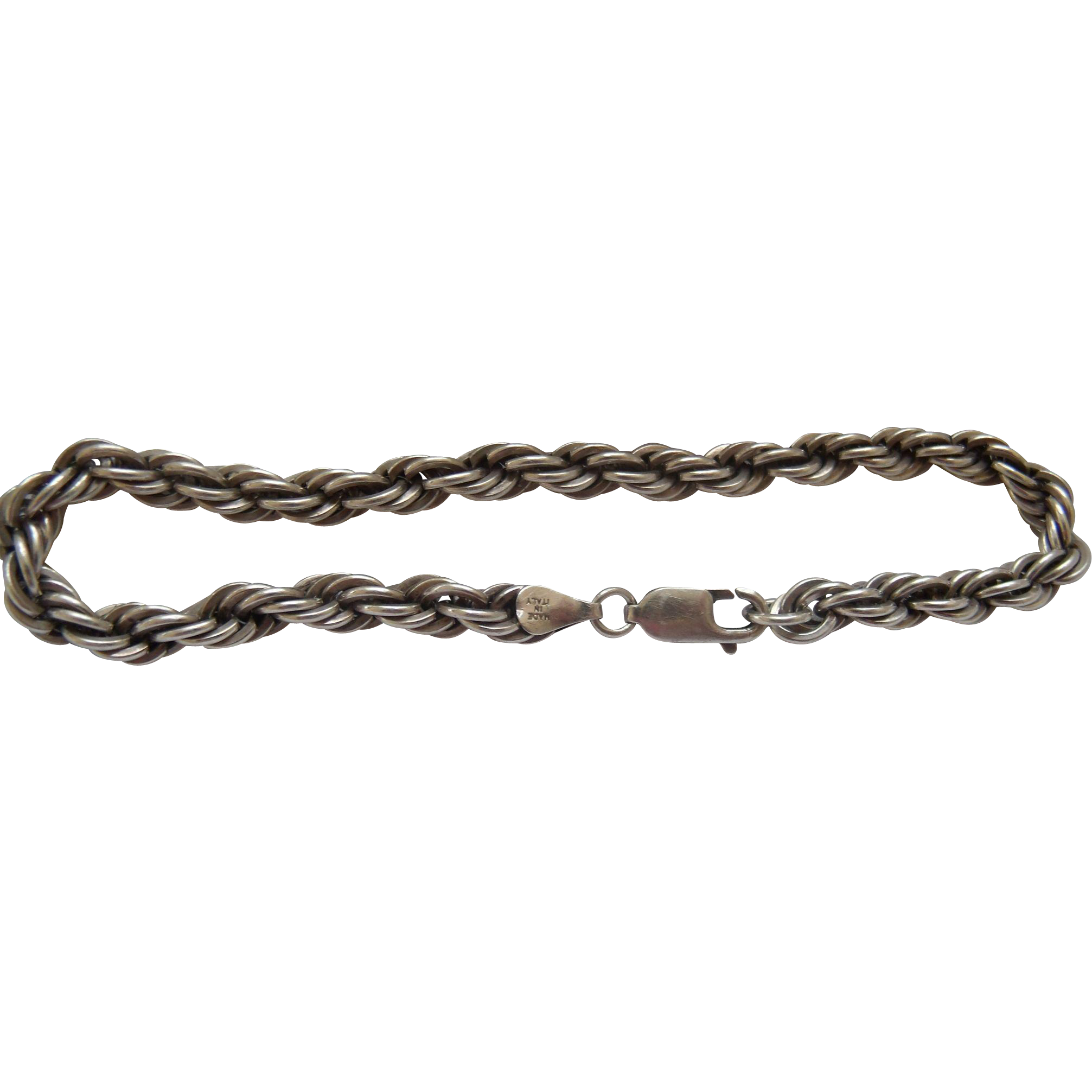 Men's Large Sterling Silver Rope Bracelet