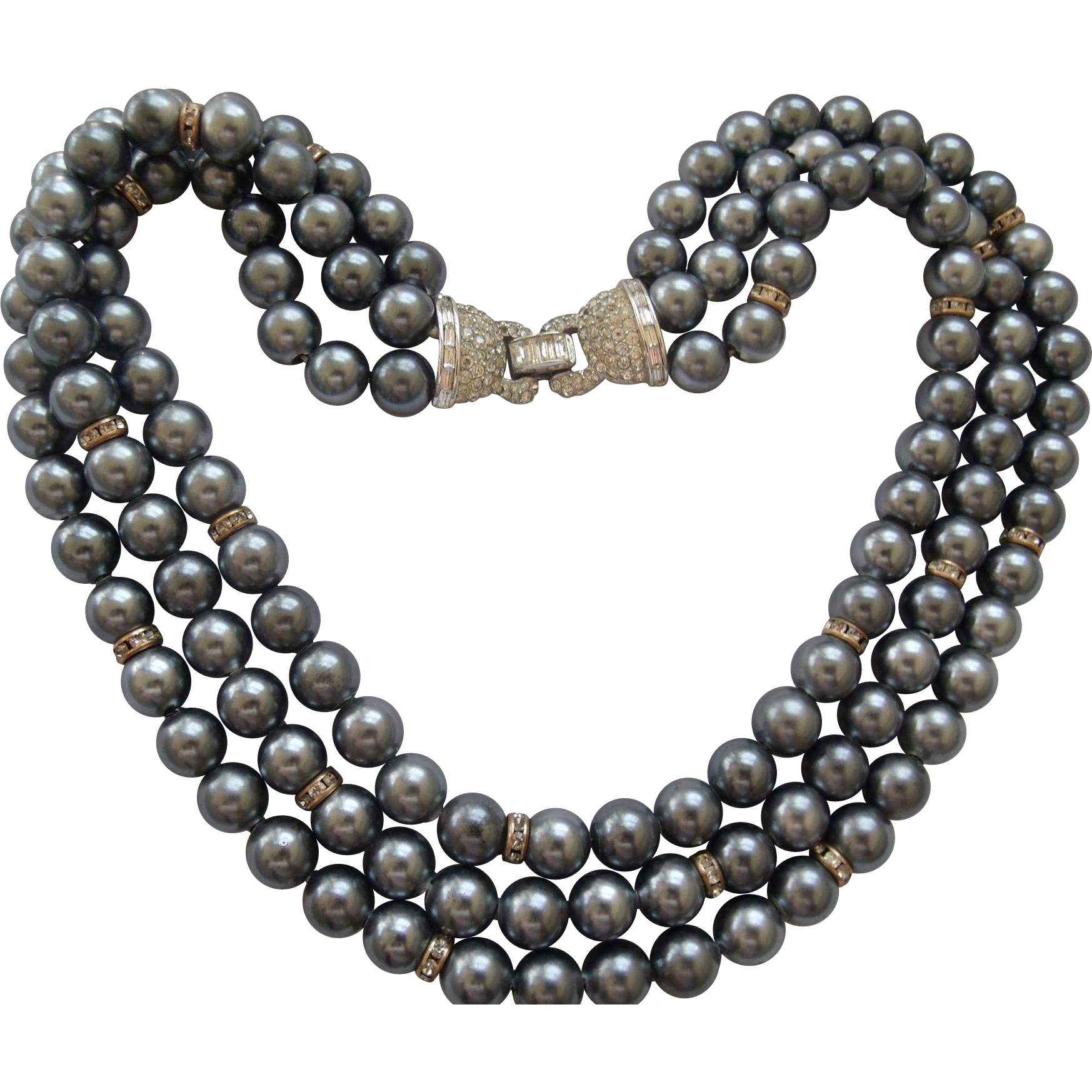 Boucher Gray Pearls & Rhinestones