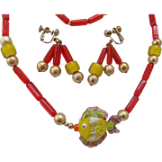 Italian Art Glass Fish Necklace & Earrings