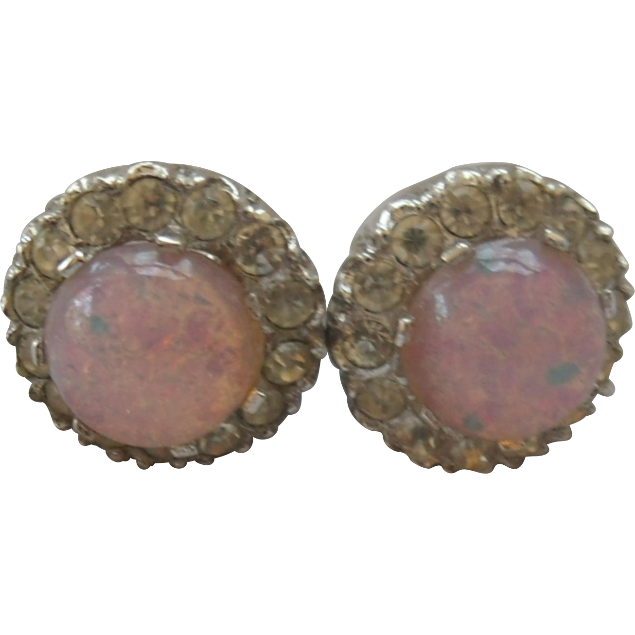 Sterling, Faux Opal Dragons Breath & Rhinestone Earrings