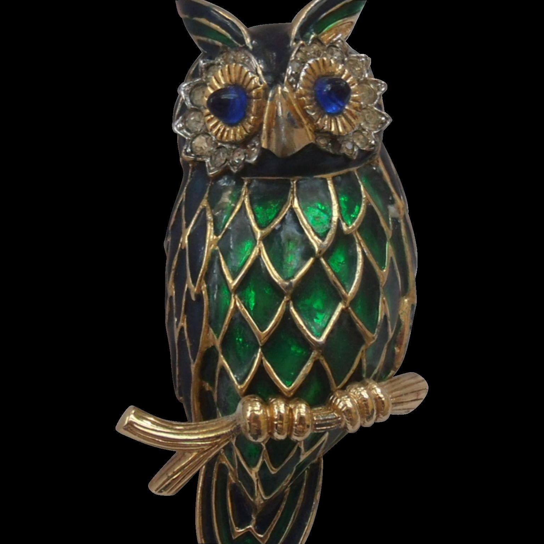 Jomaz  Mazer Enameled Owl Brooch