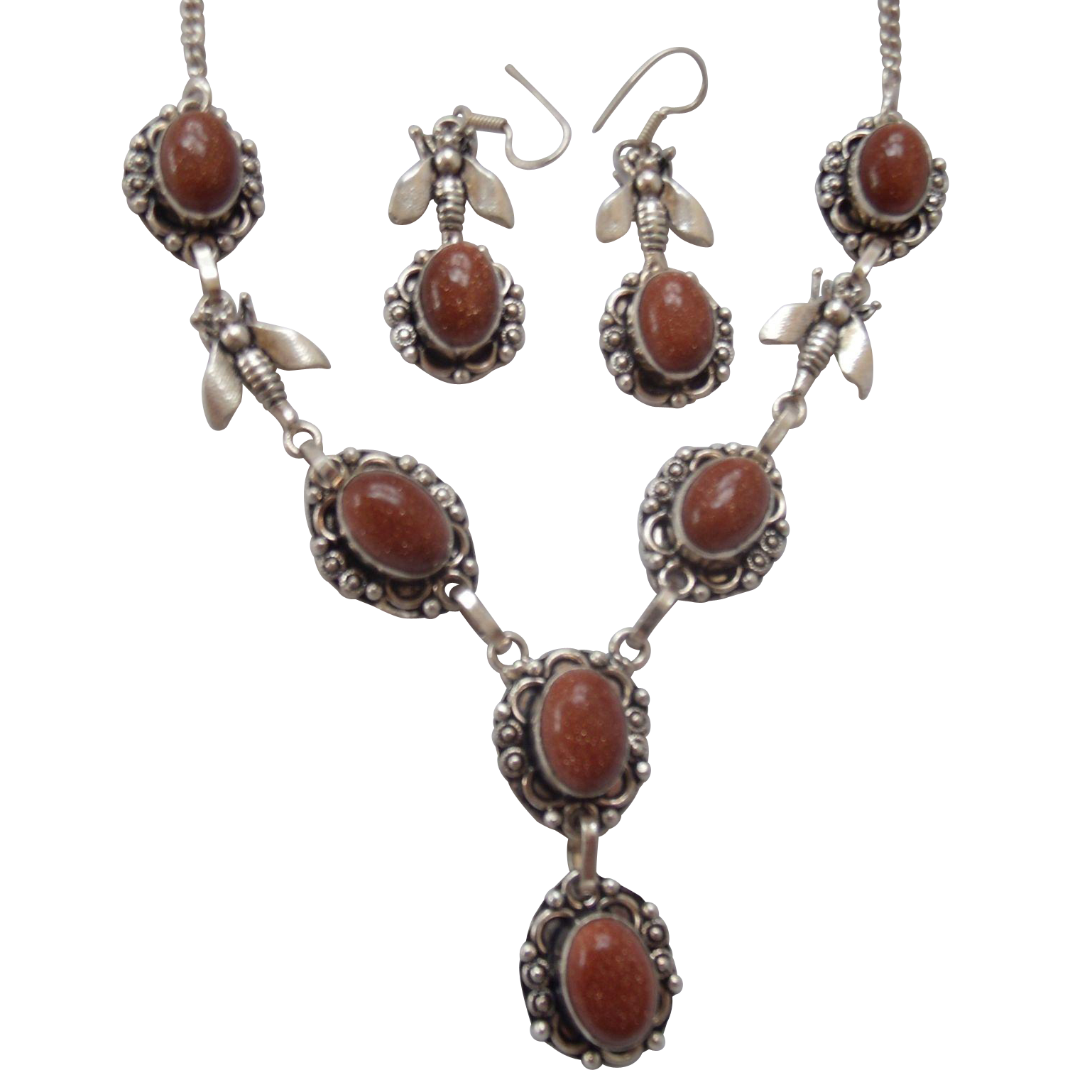 Sterling & Goldstone Insect Necklace & Earrings
