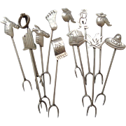 12 Sterling Silver Hors d'oeuvre Picks Mexico